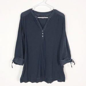 Calvin Klein Slub Knit 3/4 Sleeve Henley Top XL